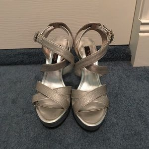 Silver strappy stiletto sandals